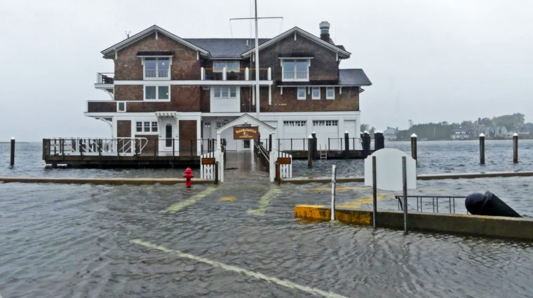 Flooding at the Watch Hill Yacht Club, Oct. 2018.
