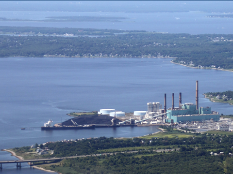 Brayton Point Power Plant photo in the 2000s before the cooling towers