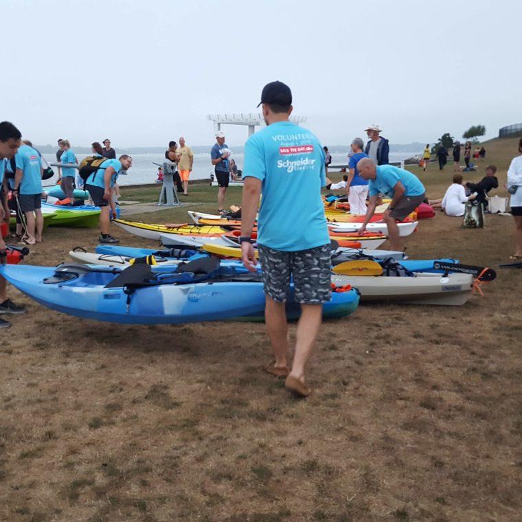 Kayak unloaders at the Swim