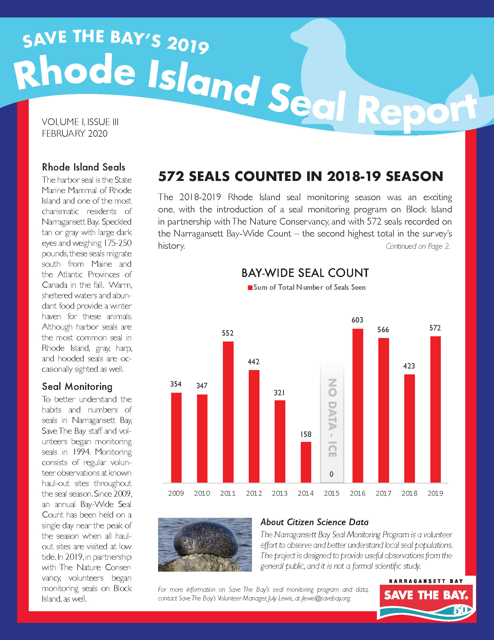 The cover page of the 2019 Narragansett Bay Seal Monitoring Report