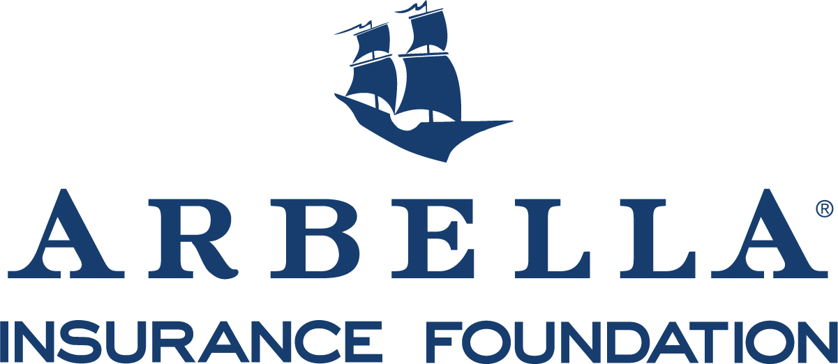 The Arbella Insurance Foundation logo, features dark blue text and a double masted sailing vessel