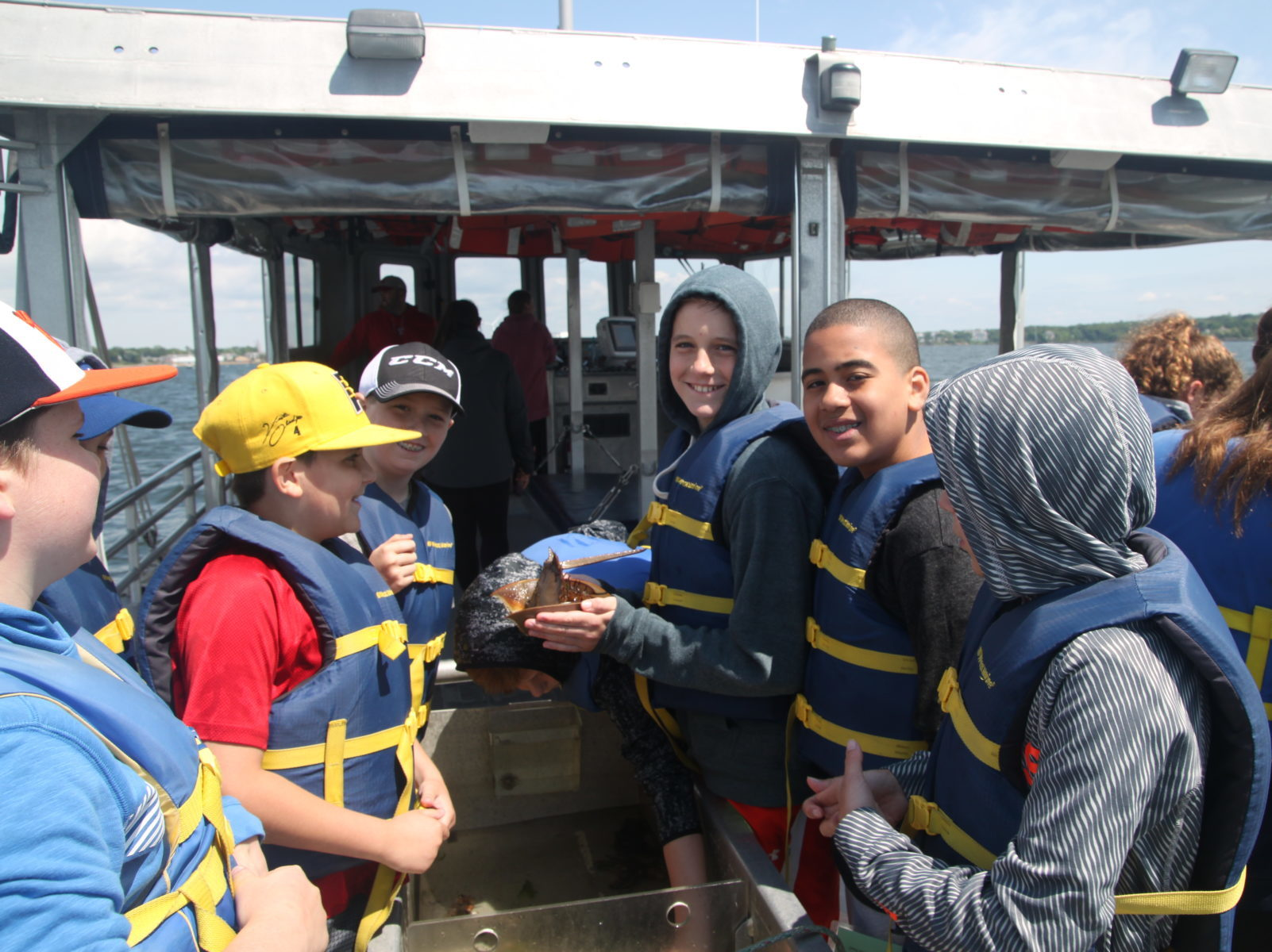 Students on a boat-based marine science trip