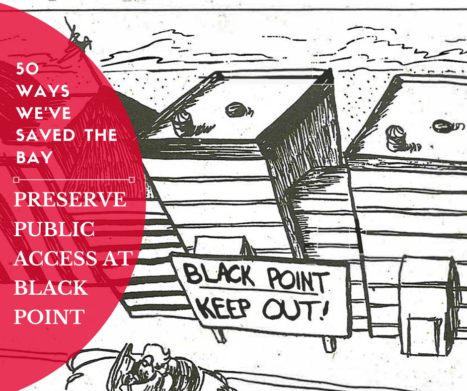 Political cartoon depicting a condo at Black Point