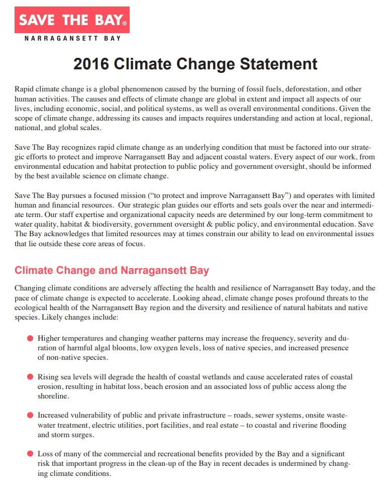 Climate Change Statement, adopted 2016
