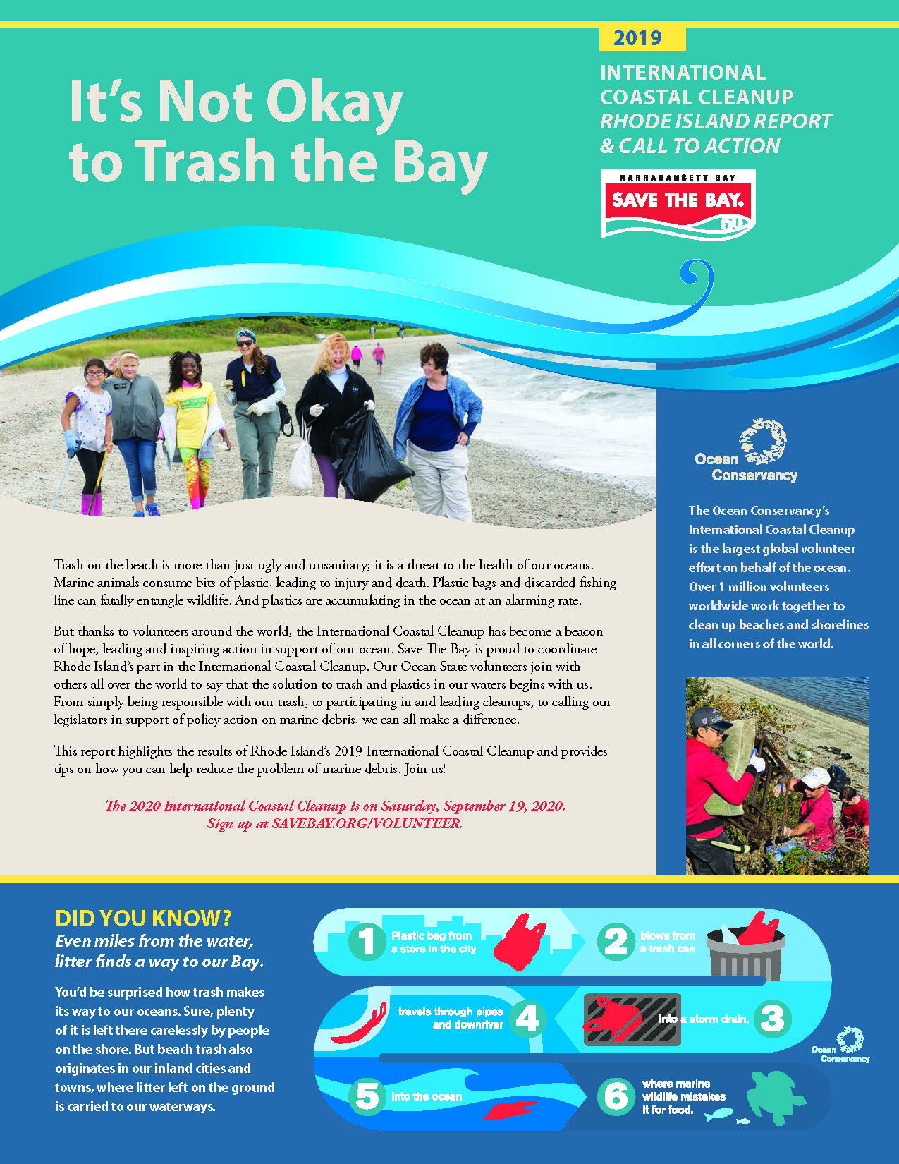The cover of Save The Bay's 2019 International Coastal Cleanup report