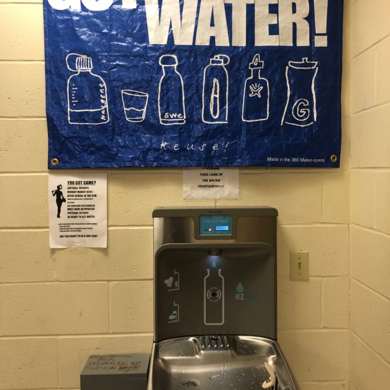 The new water bottle filling station at 360 High School, installed March 2019.