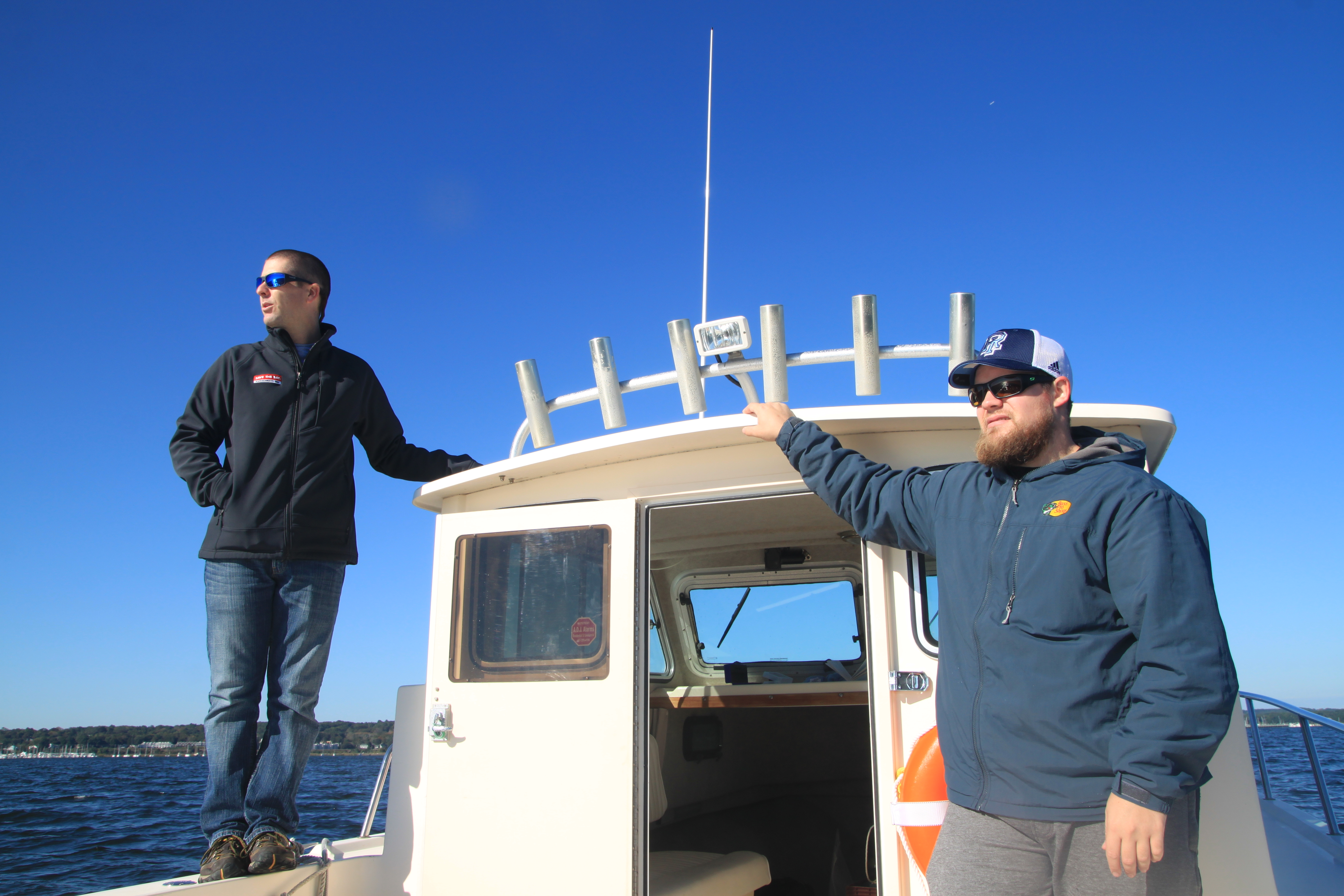 Baykeeper Mike Jarbeau and intern aboard Seaverge