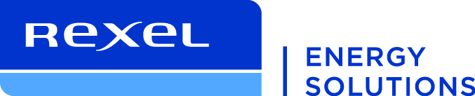 Rexel Energy Solutions logo, blue with white text