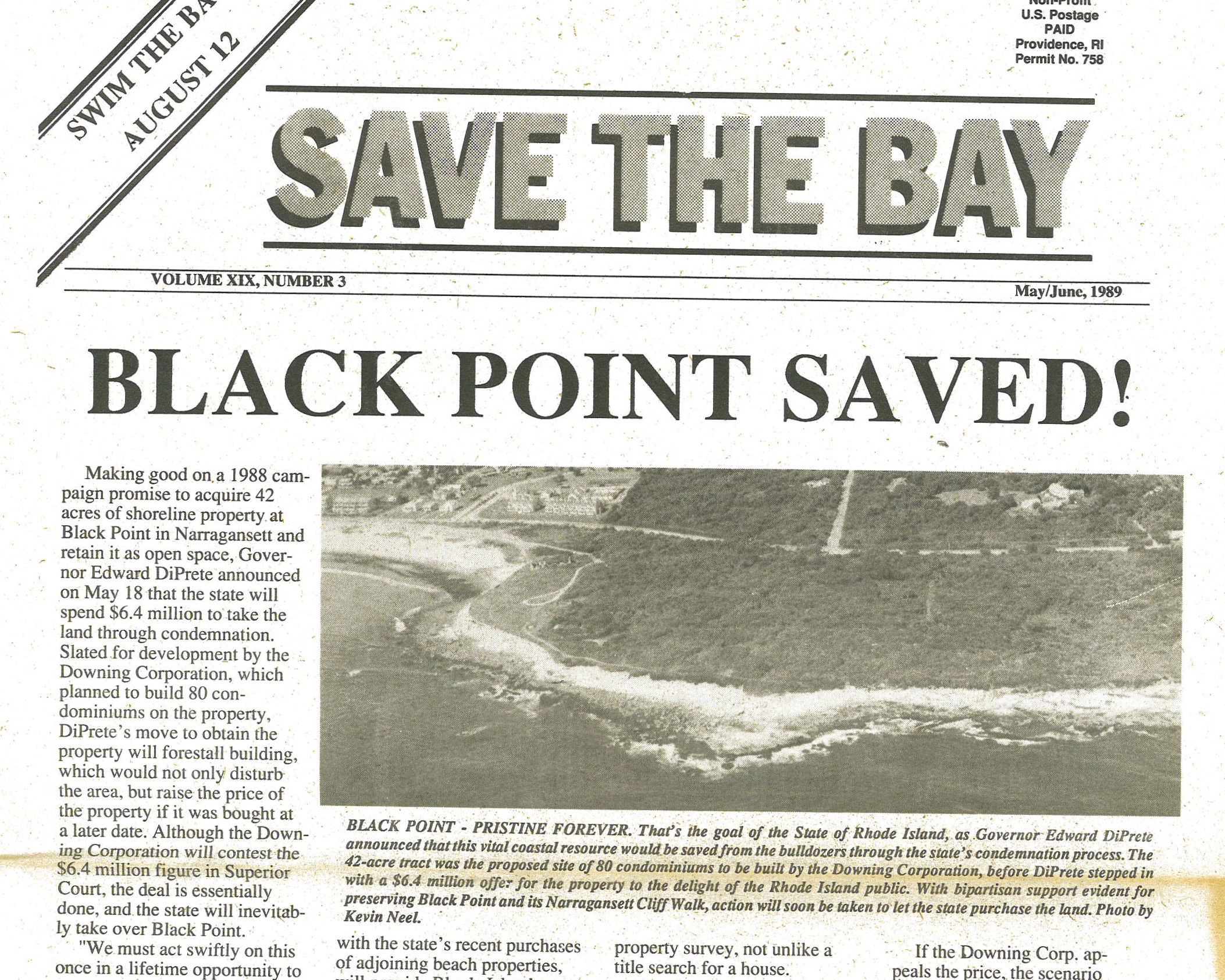 """1978 Save The Bay newsletter declaring """"Black Point Saved"""""""