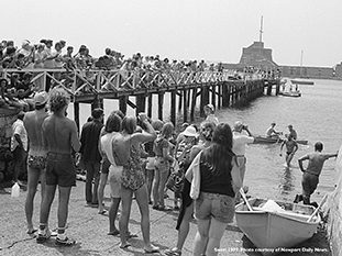 Newport Daily News photo of first Swim in 1977