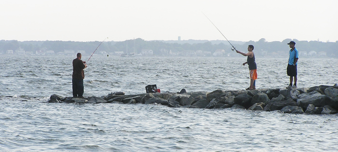 Photo of people fishing on the bay