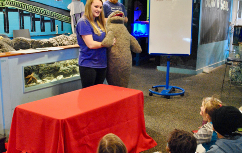 Exploration Center and Aquarium staff work with Sealia, a life-sized, plush seal model, to illustrate facts and information about harbor seals.