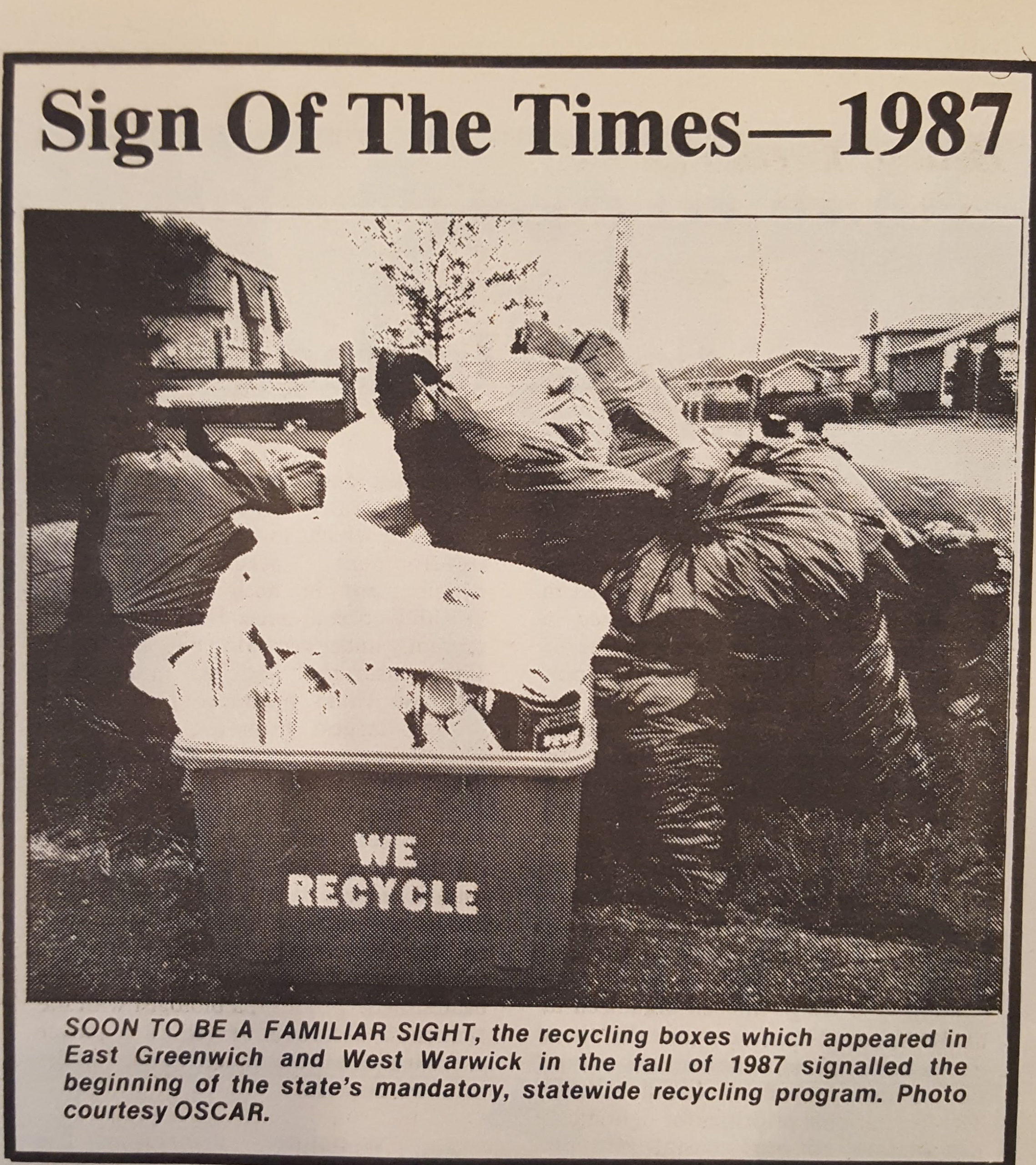 Photo of new recycling bin in 1987