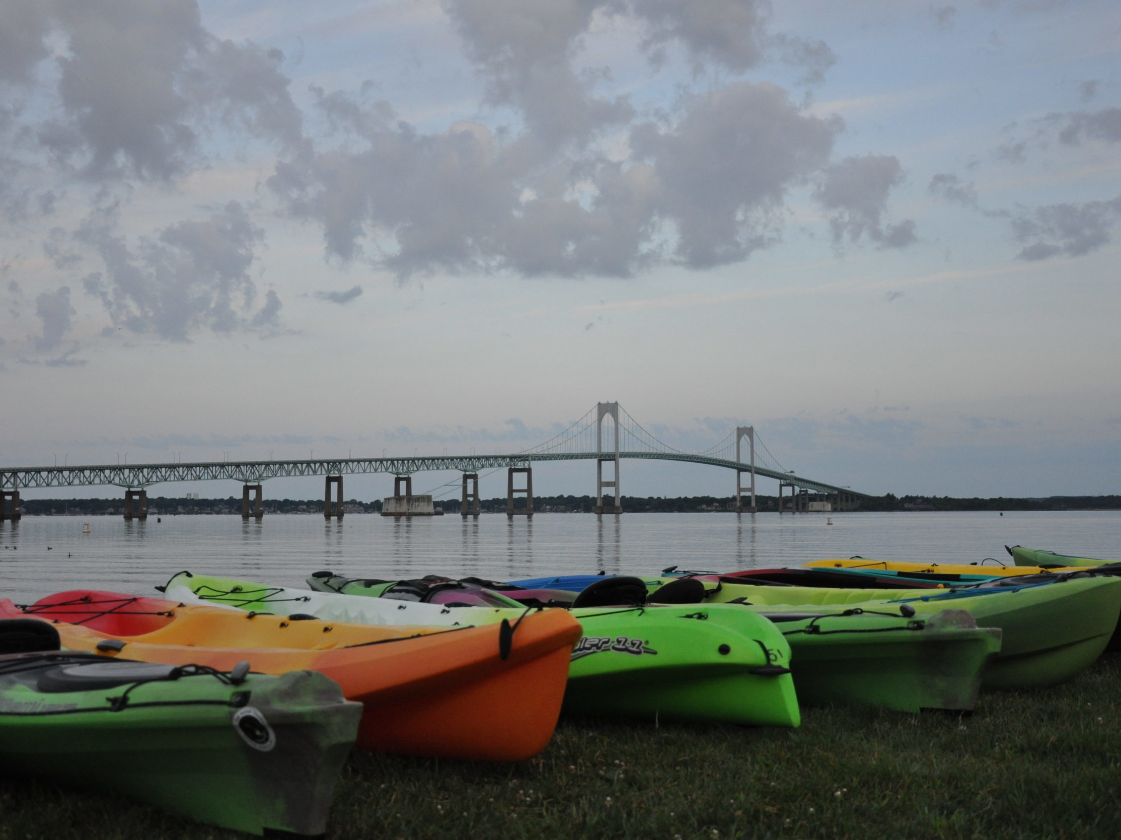 Swim 2019 kayaks at the Newport starting line