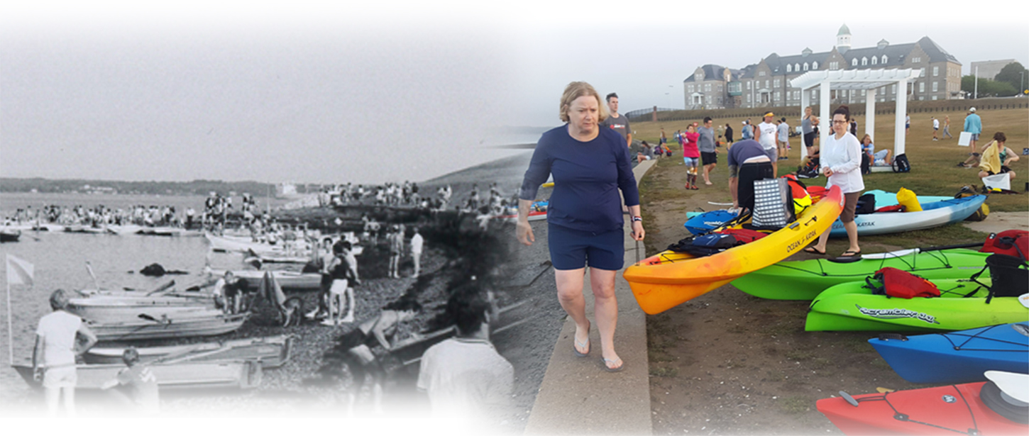 Similar photos of the Swim starting line in 1986 and 2018.