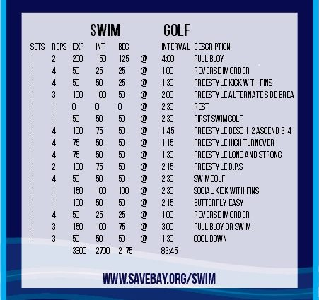 A workout that includes swim golf