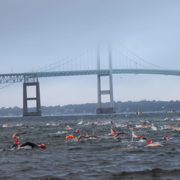 Newport Bridge during the 1.7 mile Open Water Swim