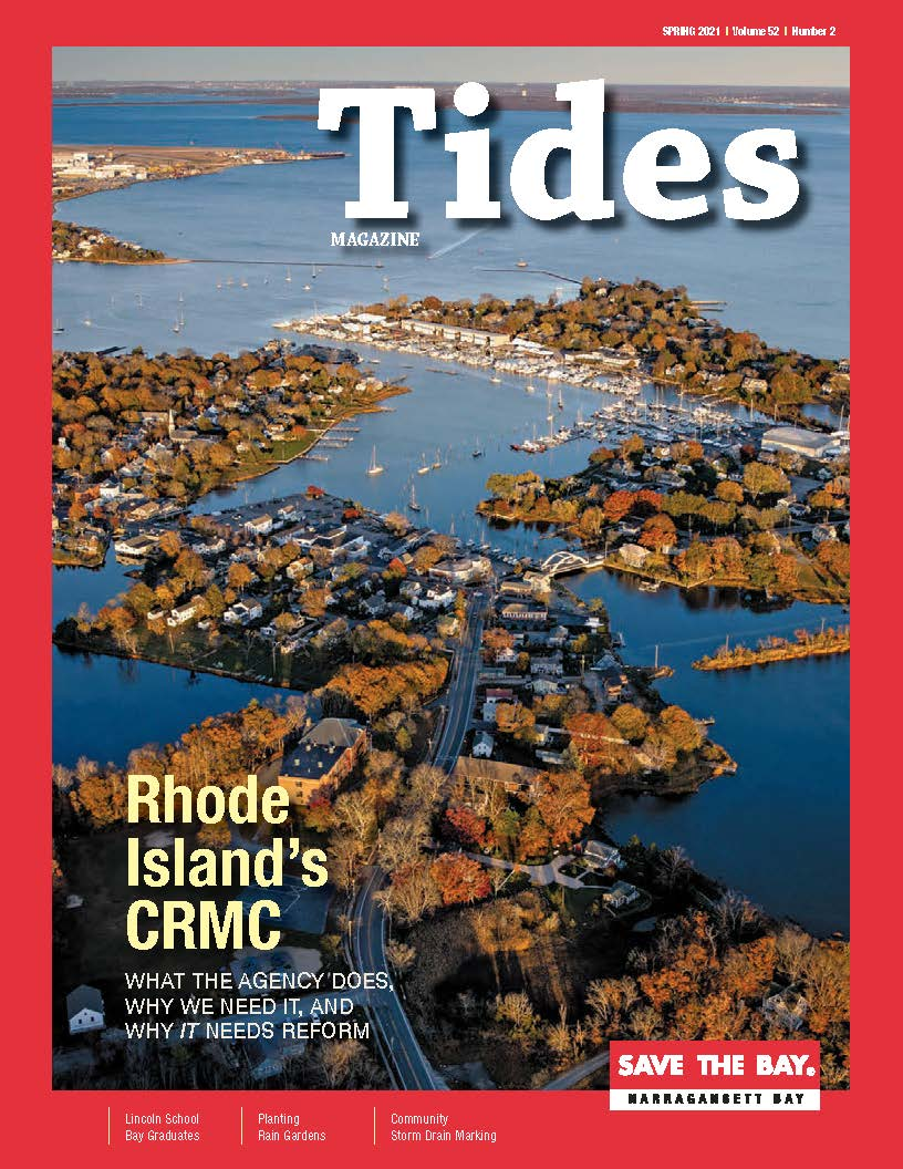 The cover of the Spring 2021 issue of Tides Magazine, featuring the magazine masthead, and the title of the cover story,
