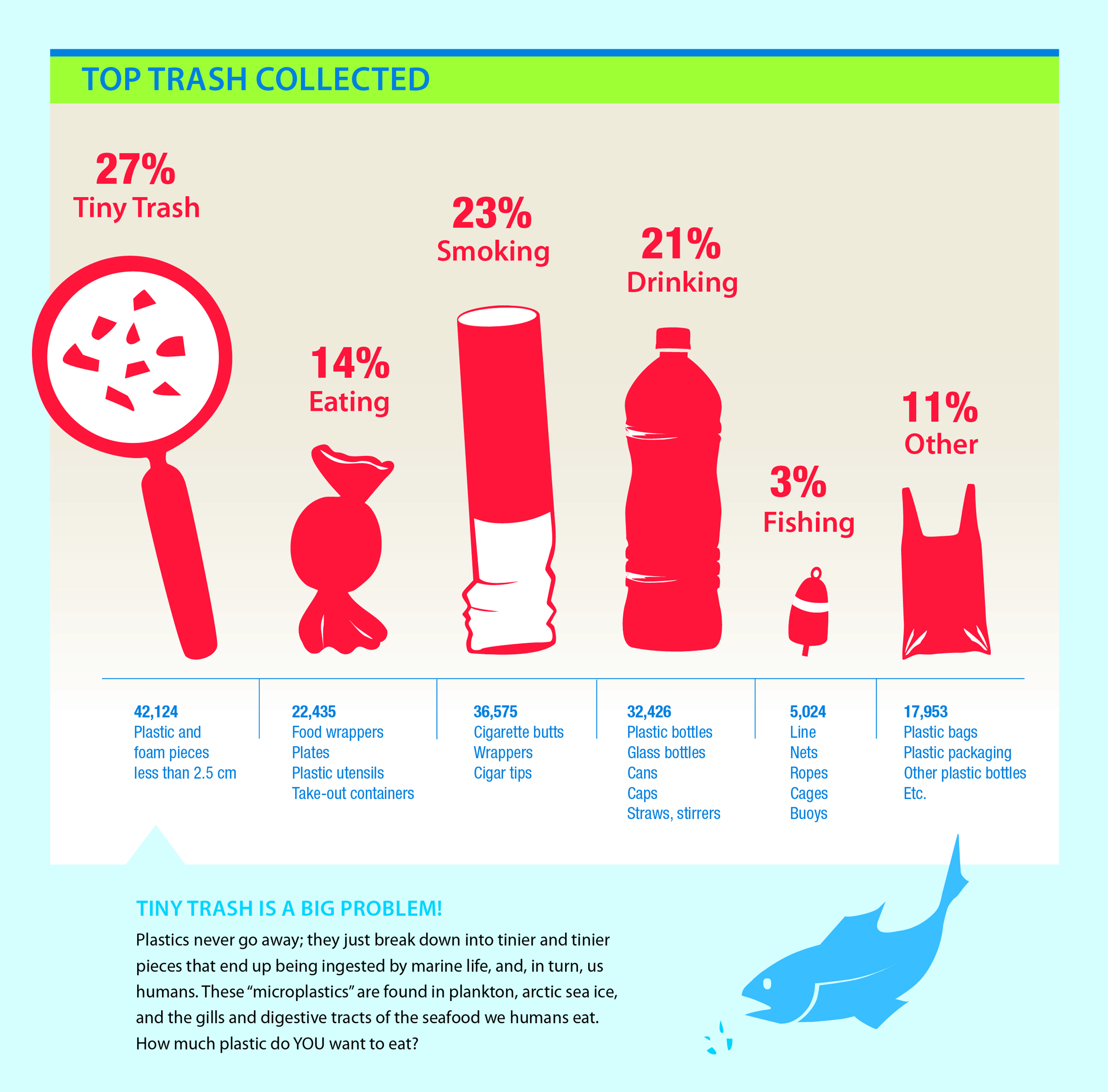 Top Trash Collected For Tides Infographic