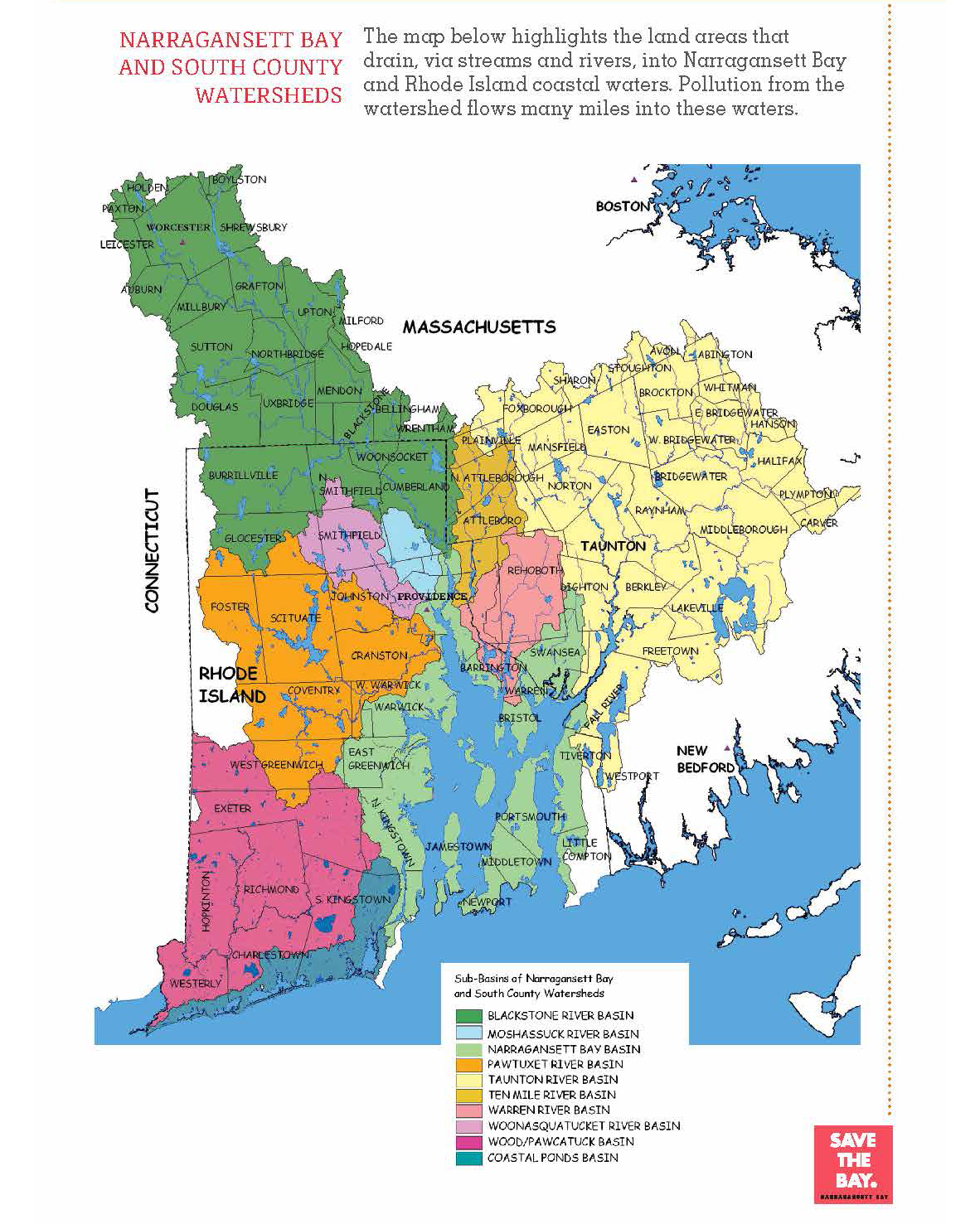 Map of Narragansett Bay Watershed