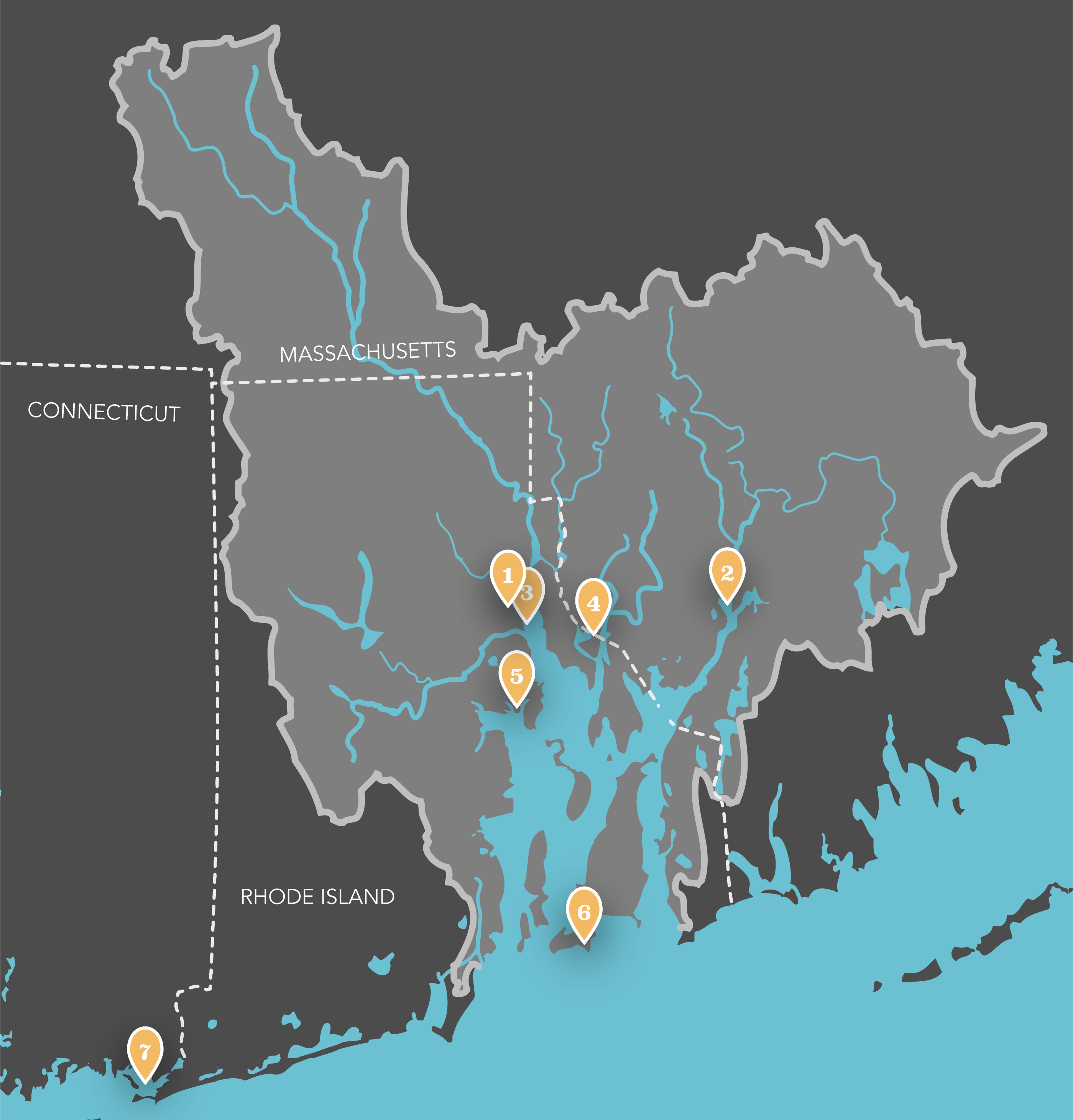 A map of the Narragansett Bay watershed, marking the threatened sites listed in this blog.