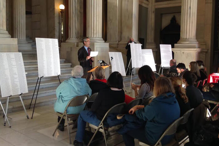 Press conference on environmental enforcement at the state house