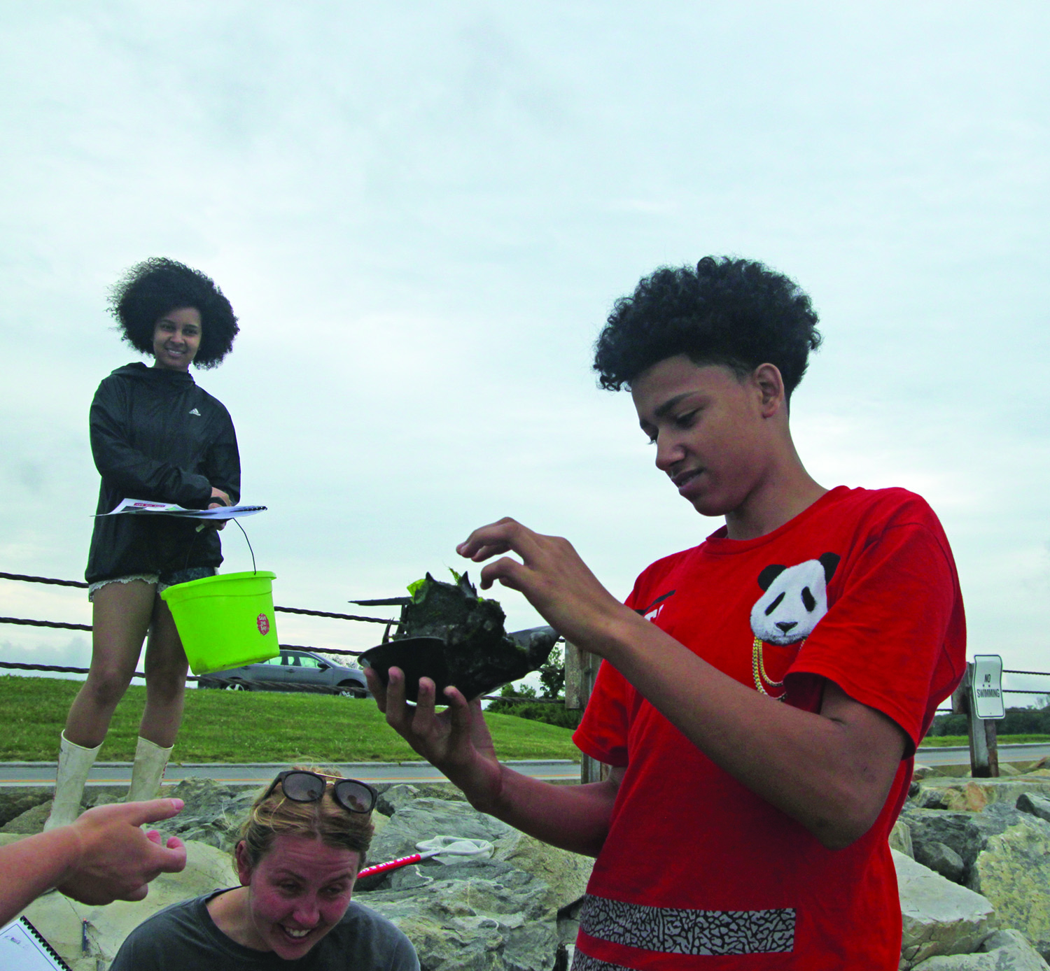 Students examine a horseshoe crab they caught at Colt State Park.